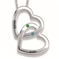 Couple's Heart Simulated Birthstone Necklace in Sterling Silver (2 Stones and Names)