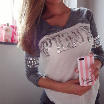 Women Casual Multicolor Sequin Print Long Sleeve blouse top Tee