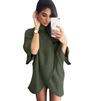 Scarf Women Hoodies Irregular Hem Sweatshirt