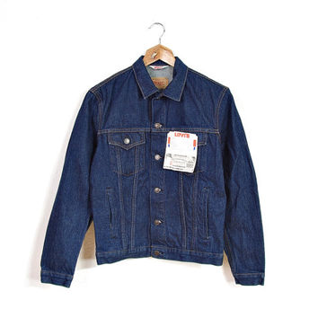 1966 NEW Levi's 70506 0217 Trucker Jacket / Navy Blue Denim / Size 36