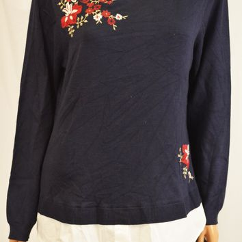 Charter Club Women Blue Embroidered Layered-Look Sweater Top XL