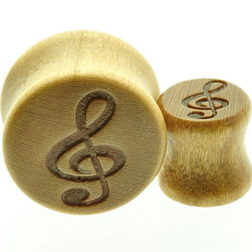 "Wooden Ear Plug with Engraved Music Note Clef Design Sold As a Pair -00 Gauge -1/2"" - 9/16"" - 5/8"" - 11/16"""
