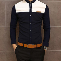 Navy Blue and White Shirt Collar Long Sleeve Shirt