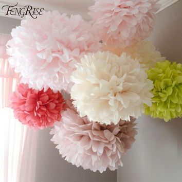 FENGRISE Wedding Decoration 5pcs 20 25 30cm Pom Pom Tissue Paper Pompom Flower Birthday Christmas Decorations For Home New Year