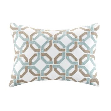 Concord Cotton Embroidered Oblong Pillow - Home Decor | Madison Park Signature