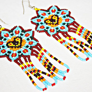 Beaded Huichol Earrings - Blue Dangling Earrings - Heart Earrings - Heart Jewelry - Native American Jewelry Huichol Jewelry Flower Earrings