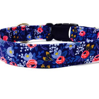 "Rifle Paper Co Dog Collar, Floral Dog Collar, Girl Dog Collar, Navy Dog Collar, Custom Dog Collar, Vintage Inspired, ""The Rosa Collection"""