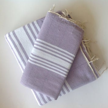 Natural Turkish BATH and Head Towel Set: Organic Handmade Peshtemal and Peshkir, Hammam, for her, spa, yoga, bath, beach, Lilac