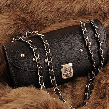 New Womens Studded Chain Strap Formal Small Shoulder Bags Black Frame Al