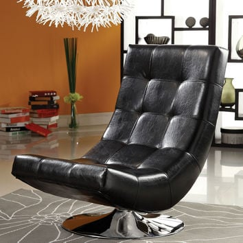 A.M.B. Furniture & Design :: Living room furniture :: Accent chairs :: Trinidad contemporary style black leather like vinyl hammock style tufted swivel scoop chair with chrome base