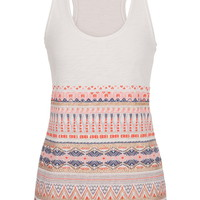 Puff Paint Embellished Tank With Raw Edges - Multi