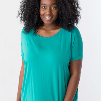 Plus-Size Piko Top Short Sleeve Round Neck in Green