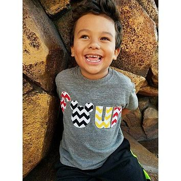 Mickey Mouse Birthday shirt, Disney Vacation, red yellow black chevron on triblend heathered grey tshirt 2 year old 2nd Birthday turning two cake party favors