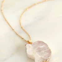 Druzy Stone Pendant Necklace Clear