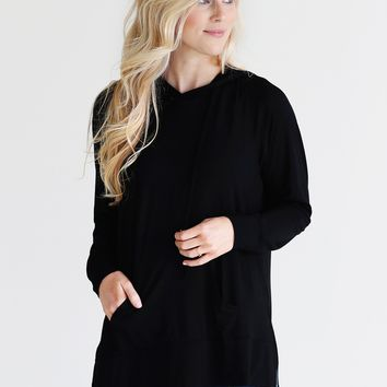 Black DLMN Lightweight Side-Slit Hoodie Sweatshirt