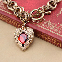 Gold Plated Red Heart with Wings Double Ring Bracelet