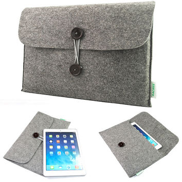 Unisex Gray Wool Felt Casual Business Bag Handbag iPad iPhone Samsung Galaxy