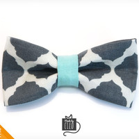 "Pet Bow Tie - ""Rorschach"" - Abstract Gray Print w/ Mint Accent - Detachable Bowtie for Cats + Dogs"