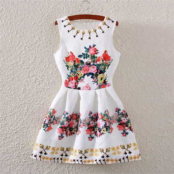 Key Print Crew Neck Sleeveless Skater Dress