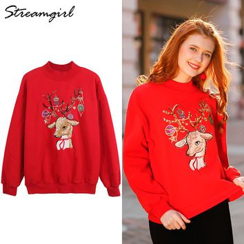 Turtleneck Women Christmas Jumper Knitting Ugly Christmas Sweater With Sequins Loose Sweater Christmas Oversized Sweaters Female