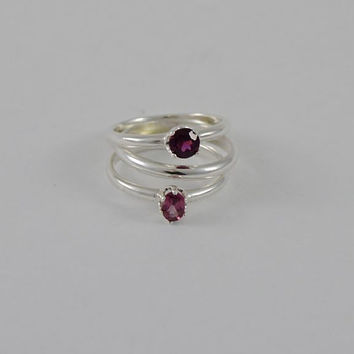 Rhodonite Ring Stack (3) Faceted Sz. 7