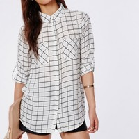 Missguided - Tayah Monochrome Grid Print Slim Fit Shirt