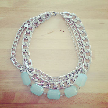 Bib statement necklace - Blue stone and silver chunky chain