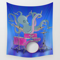 Octopus Playing Drums - Blue Wall Tapestry by Ornaart