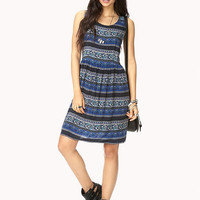 Blue Vintage Print Sleeveless V-Cut Back Mini Dress