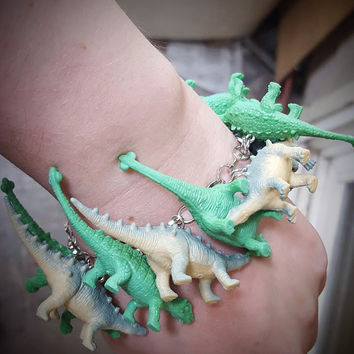 Dinosaur Bracelet Green and Blue Jumble Bracelet with Recycled Toys