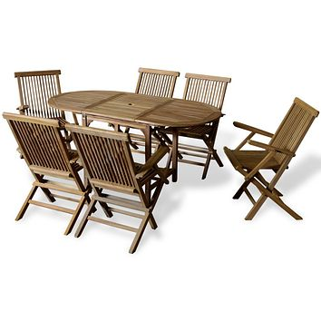 Outdoor Dining Set 7 Pieces Teak with Extendable Table