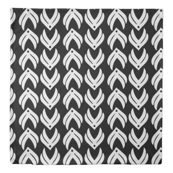 Black and white tribal style pattern duvet cover