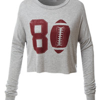 LE3NO Womens Oversized Long Sleeve Football Graphic Crop Top
