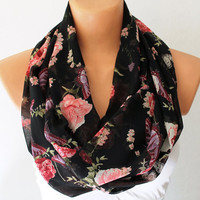 Infinity Scarf Loop Scarf Circle Scarf Bird Scarf Cowl Scarf Soft and Lightweight Pink Roses on Black Scarf