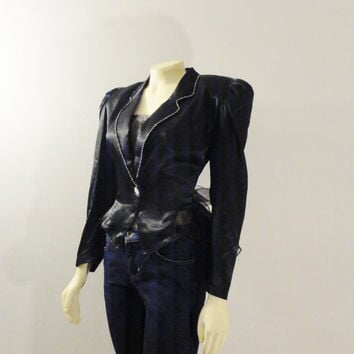 Vintage Jacket 80s Black Satin Tuxedo Jacket Blazer Ruffle Tails Sheer Back Cut Out Modern Size Medium