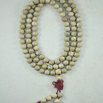 Lotus Seed 108 Mala Beads or Wrap Bracelet with Infinity Knot