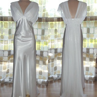 Vintage 90s as 30s White Satin Chiffon Draped Harlow Gown Wedding Dress Grecian Cocktail PLUS SIZE 4X