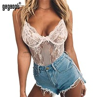 Gagaopt Sexy Bodysuit Women 2019 Bow Tie Floral Embroidery Hollow Out Lace Bodysuit Black White Jumpsuit Summer Overalls