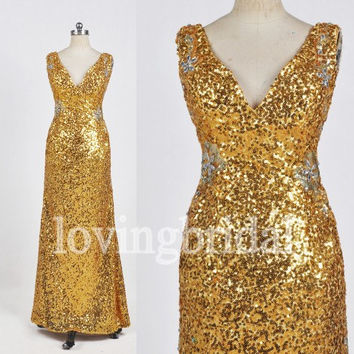 Long Gold Sequined Prom Dresses Sexy Open Back Party Dresses Evening Dresses 2014 New Fashion