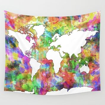 world map Wall Tapestry by Bekim ART