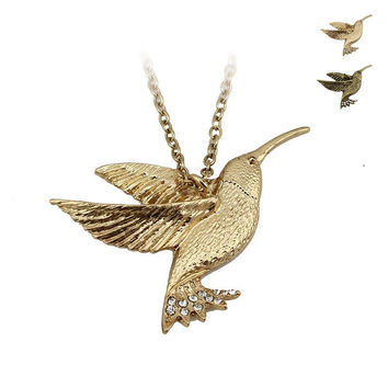 """Fashion Jewelry Gold/Bronze 3D Hummingbird Pendant 24"""" Chain Necklace ERM ED32 Free Shipping"""