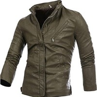 jeansian Men's Fashion Slant Pockets Leather Jacket Coat 9365