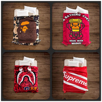 A Bathing Ape/Bape Blanket Baby Milo Bape Blankets Brand Supreme Shark Soft Fleece Blanket Throw on Sofa/Bed 130*150cm/150*200cm