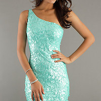Sequin One Shoulder Cocktail Dress