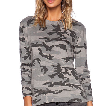 SUNDRY Camo Sweatshirt in Gray