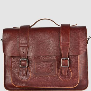 "15"" LEATHER SATCHEL 