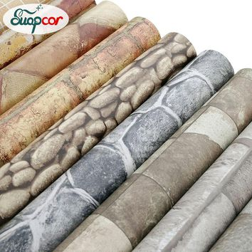 Self Adhesive Wallpaper Rolls Removable Vinyl PVC Brick Stone Wall Paper Living Room Bathroom Waterproof Home Decor Wall Sticker