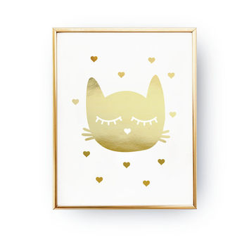 Kitty Poster, Nursery Print,Real Gold Foil Print, Gold Kitty Print,Baby Print Poster, Nursery Wall Decor,Kids Room Decor, Nursery Room Decor