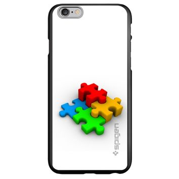 DistinctInk® Spigen ThinFit Case for Apple iPhone or Samsung Galaxy - Red Blue Yellow 3D Puzzle Pieces