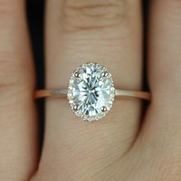 Celeste 14kt Rose Gold Oval FB Moissanite and Diamonds Pave Halo Engagement Ring (Other metals and stone options available)
